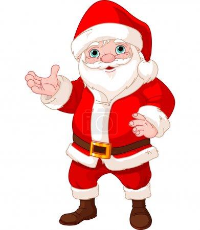 Illustration pour Père Noël debout, montrant à copier l'espace - image libre de droit