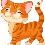 Cute striped kitten walking proud...