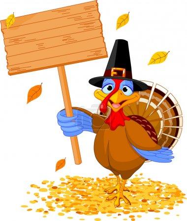 Illustration pour Illustration d'une dinde de Thanksgiving tenant un panneau vierge - image libre de droit