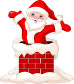 Santa Claus jumping from chimney