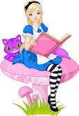 Girl dressed up like Alice in wonderland holding book