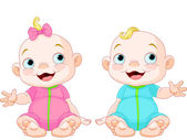 Cute smiling twins