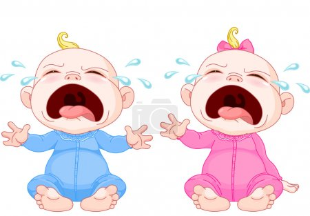 Illustration for Cute crying baby twins - Royalty Free Image
