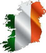 Ireland map with flag