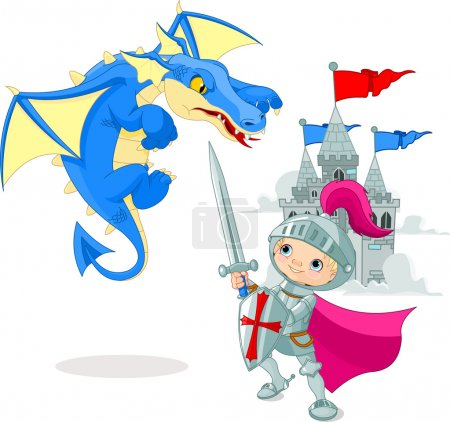 Illustration for A brave knight fighting with a dragon - Royalty Free Image
