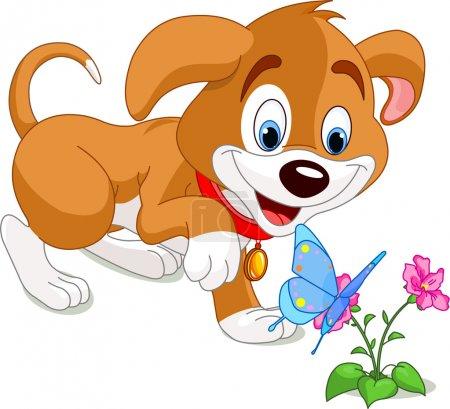 Illustration pour Le joli chiot regardant vers le papillon - image libre de droit