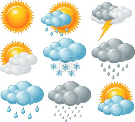 Illustration for Nine weather related icons set - Royalty Free Image