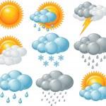 Nine weather related icons set...