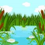 Illustration of a pond scene...