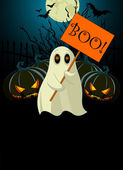 Ghost with sign Halloween invitation
