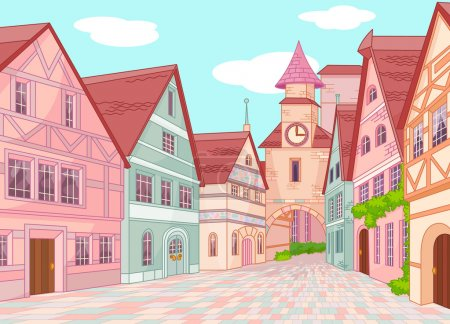 Illustration for Little Europe town street - Royalty Free Image