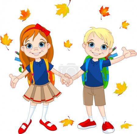Illustration pour Garçon et fille prêts à l'école - image libre de droit