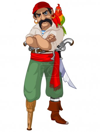 Illustration of cartoon pirate with parrot...