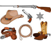 Various vintage cowboy western objects set