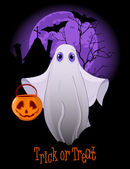 Halloween invitation of Trick or Treating Ghost