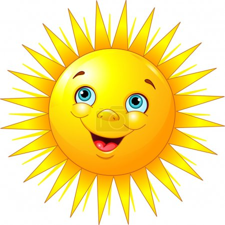 Illustration of smiling sun character...