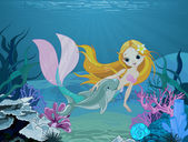 Mermaid and dolphin background