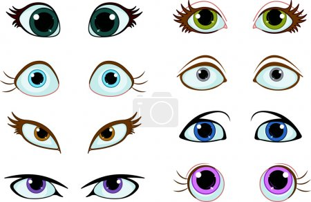 Illustration pour Ensemble d'yeux de dessin animé avec différentes expressions - image libre de droit