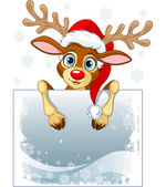 Christmas reindeer holding blank sign
