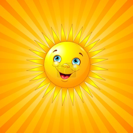 Illustration for Smiling sun on radial background. - Royalty Free Image