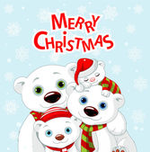 Polar bear family Christmas greeting card