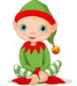 Illustration of sitting cute Christmas Elf