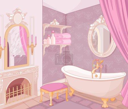 Illustration pour Salle de bain dans le palais de la princesse - image libre de droit