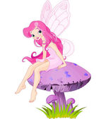 Pink fairy elf sitting on mushroom