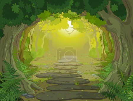 Illustration for Magic forest landscape with trees and ferns - Royalty Free Image