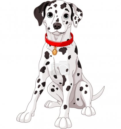 Illustration of a cute Dalmatian dog wearing a red...