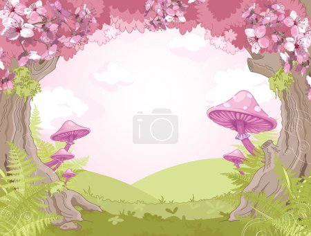 Illustration for Fantasy landscape with mushrooms and trees - Royalty Free Image