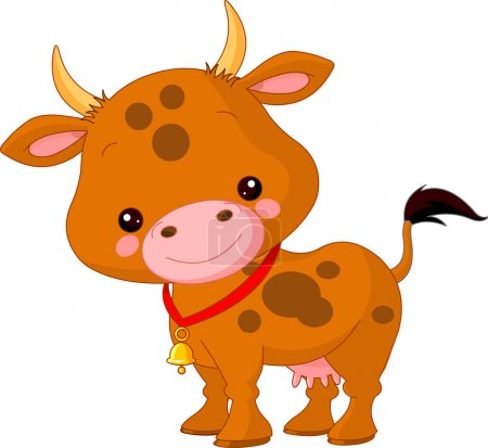 Illustration for Farm animals. Illustration of cute Cow - Royalty Free Image