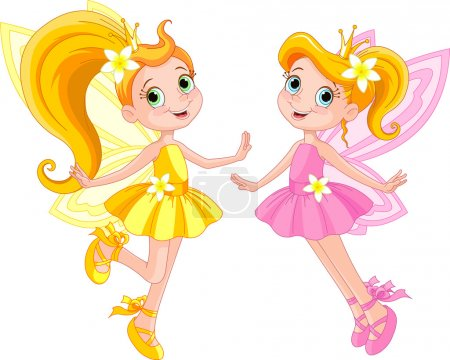 Two cute fairies in fly