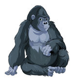 Illustration of cute cartoon sitting gorilla