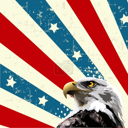Illustration for Bald eagle in front of an American flag. - Royalty Free Image