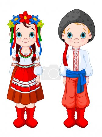 Illustration for Boy and Girl in Ukrainian folk costumes. - Royalty Free Image