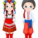 Boy and Girl in Ukrainian folk costumes....