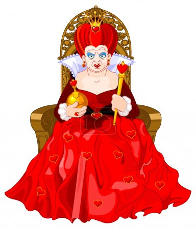 Illustration pour Reine des cœurs en colère assis - image libre de droit