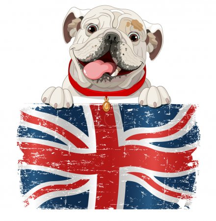 English Bulldog over British flag.