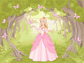 Charming princess in fantastic wood surrounded by butterflies