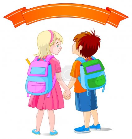 Girl and boy going to school