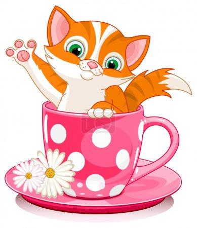 Illustration pour Le chaton domestique au gingembre est assis dans une tasse à thé . - image libre de droit