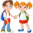 Boy and girl ready to go back to school...