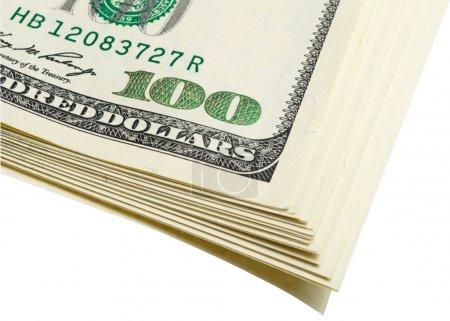Photo pour Fragment paquet de dollars sur blanc, isolé . - image libre de droit