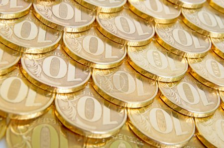 Shiny, yellow coins orderly arranged on the plane....