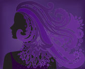 girl with purple hair flower