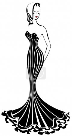 Illustration for Silhouette of elegant woman in a long black dress - Royalty Free Image