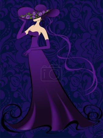 A woman is in purple