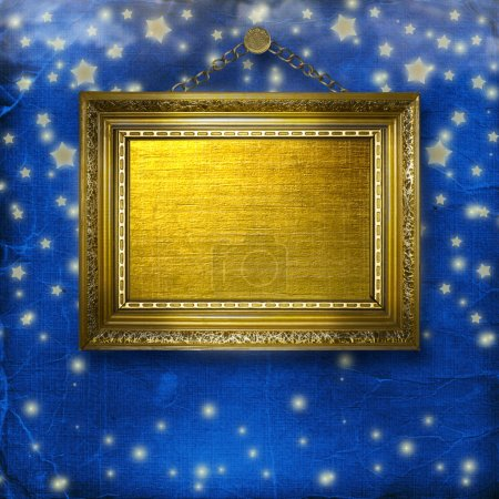 Wooden frames for photo on the nightly glowing background