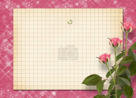 Card for congratulation or invitation with bunch of pink roseske